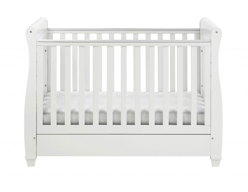 Nursery Furniture Eva sleigh Cot bed with drawer white cot bed