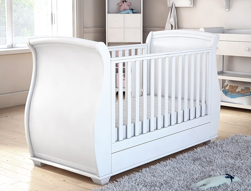 Bel sleigh cot bed drop side with drawer