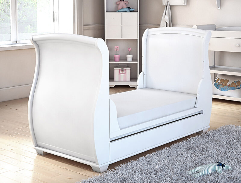 Bel sleigh cot bed drop side with drawer convert to bed side
