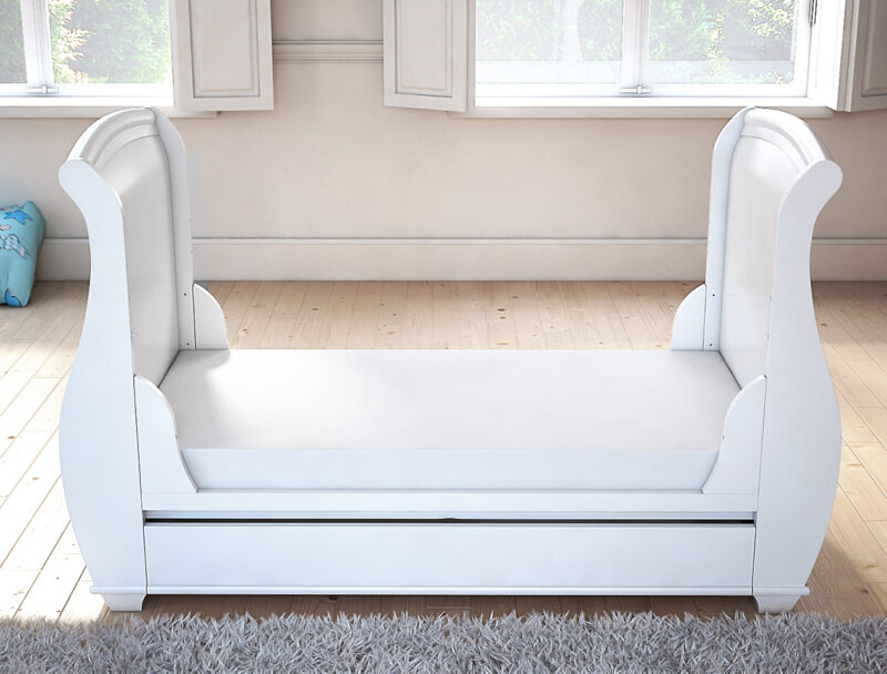 Bel sleigh cot bed drop side with drawer convert to bed front