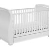 Bel Sleigh cot bed dropside with drawer White