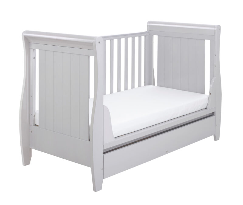 Stella Sleigh Cot Bed Drop side with Drawer Grey cot end
