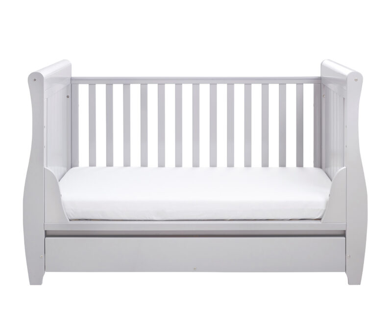 Stella Sleigh Cot Bed Drop side with Drawer Grey
