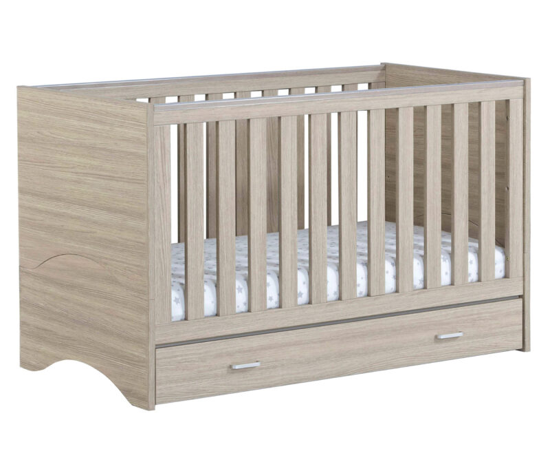 veni cot bed with drawer oak