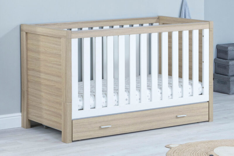 Luno cot bed with drawer Oak White
