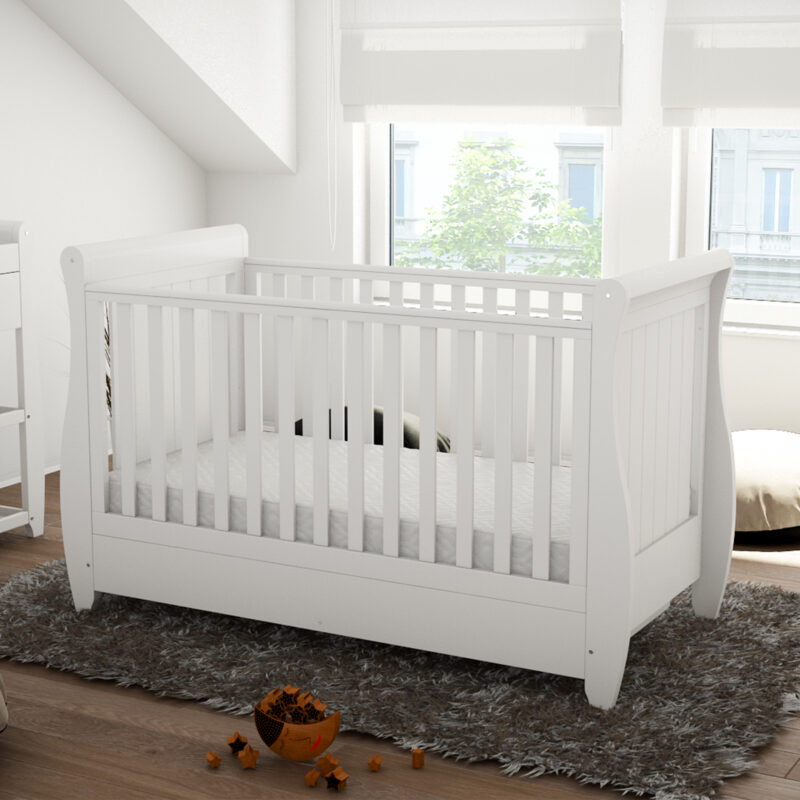 Stella Sleigh Cot Bed Drop side with drawer white