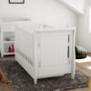 Stella sleigh cot bed drop side with drawer white 2