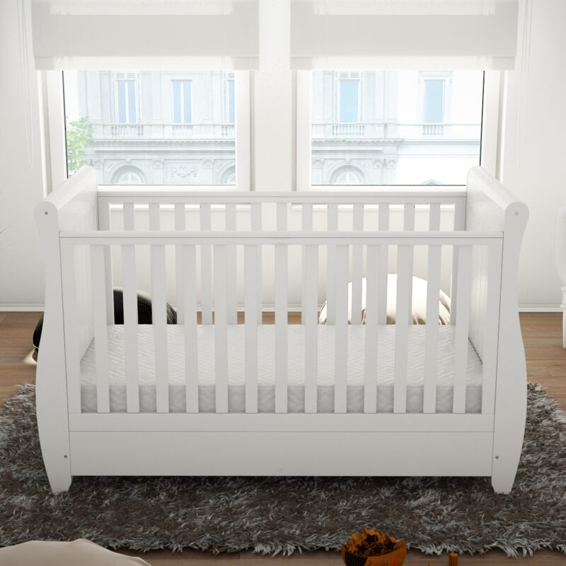 Stella sleigh cot bed drop side with drawer white 3